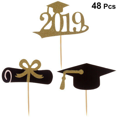 48Pcs Graduation Cupcake Toppers Cake Toothpick Toppers Party Decorations Favors