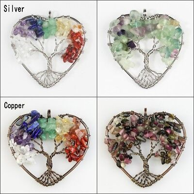 Natural Amethyst Fluorite Chip Beads Tree of Life Silver Copper Heart Pendant