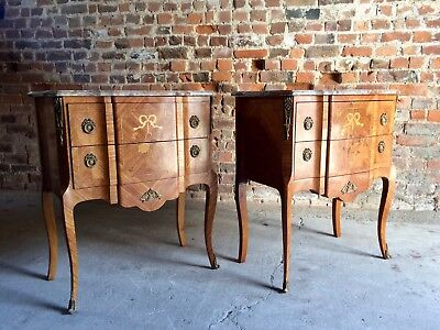 Magnificent French  Bedside Tables Night Stands Commodes Louis XV Kingswood Pair