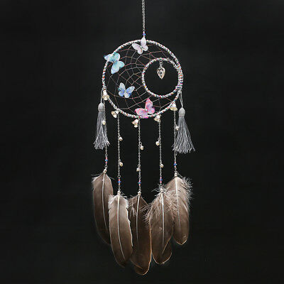 Circle Feathers Dream Catcher Wall Hanging Home Decoration V2GR