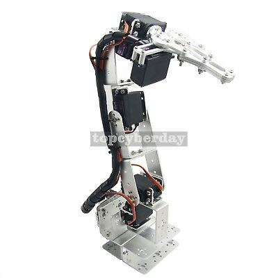 6DOF Aluminium Clamp Claw Mount Kit Mechanical Robotic Arm+Servos +Servo Horn EU