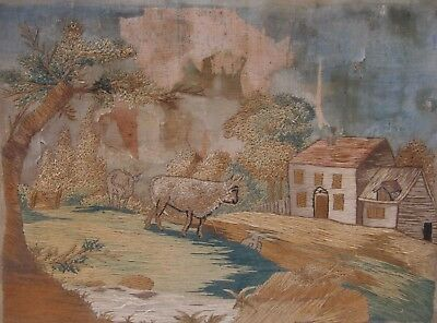 EARLY 19th CENTURY, Silk Needlwork Panel, RURAL SCENE WITH CATTLE &  FARMHOUSE
