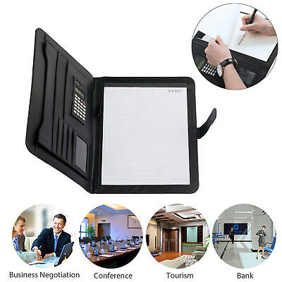 Business Executive A4 Conference Folder File Document Case Organiser PU Leather