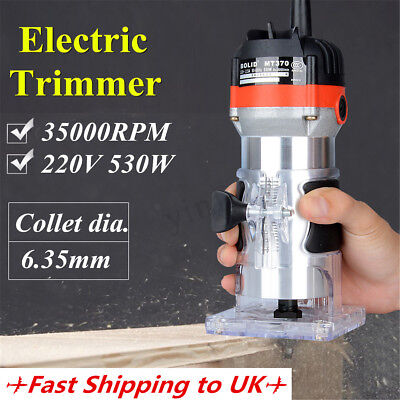 """35000RPM 6.3mm 1/4"""" Electric Hand Trimmer Wood Laminator Router Joiner Tool 220V"""