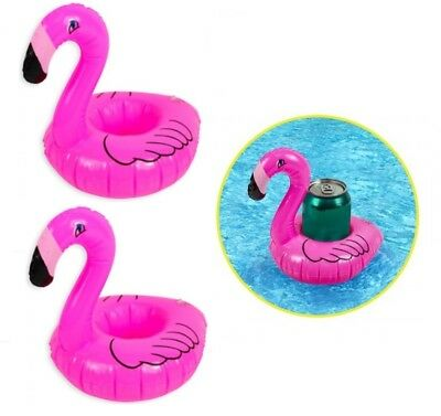 2 x Inflatable Blow Up PVC Floating Pool Cup Can Drinks Holder Pink Flamingo