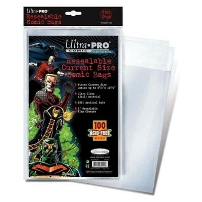 100 Resealable Current Size Comic Bags ULTRA CLEAR Protect Archival Book Storage