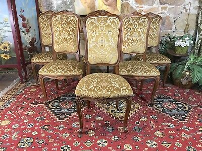 Set 6 Antique French Louis Style Dining Chairs~Bergere~French Chic~Tall Back