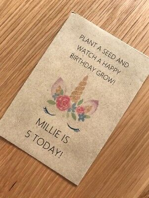 Personalised Seed Packets Happy Birthday Tea Party Gift Favour Unicorn Eyelashes