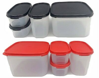 Tupperware 4x Modular Mates Oval & Square Black/Red Seal Container Airtight