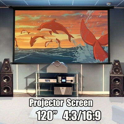 120'' HD 3D Portable Projector Projection Screen Home Theater Cinema 4:3/16:9 UK