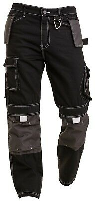 Mens Work Trousers Working Pants Cargo Combat Cordura Knee Worker Safety Ring