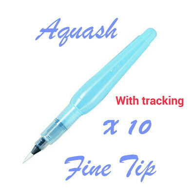 Pentel : 10 pc of Aquash Water brush pen Fine tip (with tracking)