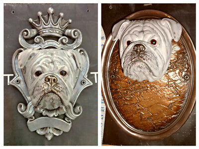 CUSTOMISED BRITISH BULLDOG Royal Crest Head Bust Statue figure vivid Art stone