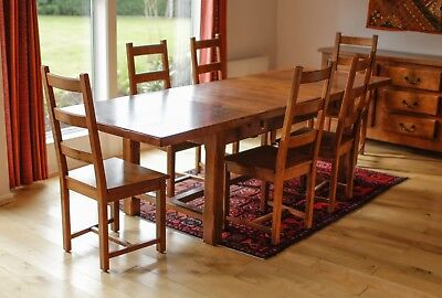Beautiful Rustic French Solid Oak Table with two Leaves and Six Chairs