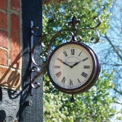 Double Sided Victoria Marylebone Station Wall Clock Thermometer Outdoor Indoor