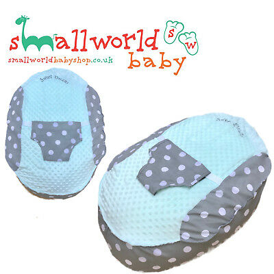 Personalised Girls Boys Mint & Grey Polka Dot Pre Filled Baby Bean Bag