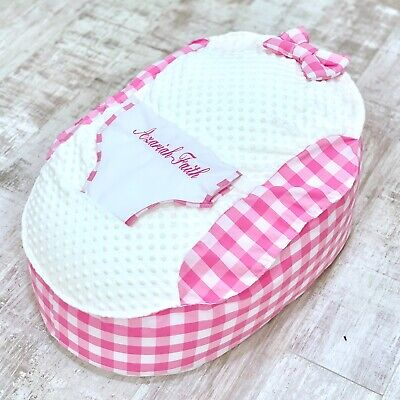 Personalised Girls Pink Gingham Pre Filled Baby Bean Bag