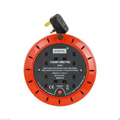 5 Meter 2 Gang Cable Extension Reel Lead Socket Heavy Duty 240V 13A