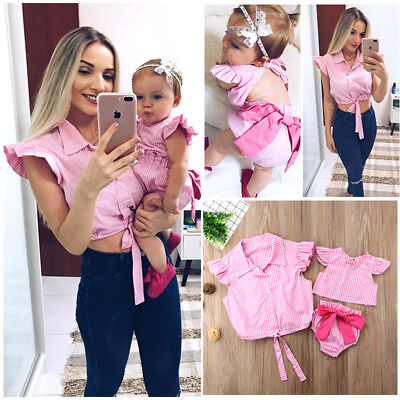 Family Matching Clothes Plaid Blouse Shirt Tops Mother Daughter Baby Girl Romper