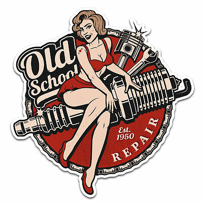 Pin Up Repair Girl Old School Aufkleber Sticker Bobber Cafe Racer Retro #22