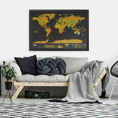 Scratch Map Deluxe XL Edition by Luckies World Travel Scratch Off Wall Poster