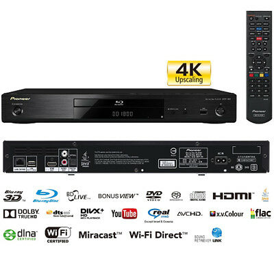 Pioneer BDP-180 Black Smart 3D Blu-ray Player Multi Region DVD Playback