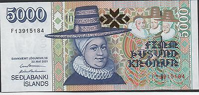 Iceland  , 5000 Kronur , 22.5.2001 , P 60 , new sign. , Prefix F