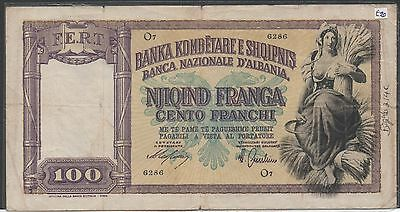 Albania / Italian Occupation , 100 Franga , ND. 1940 , P 8 , Series O 7