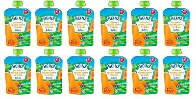 Heinz Butternut Squash, Carrot & Apple Puree Baby Pouches 4 mths+ 100g x6 or x12