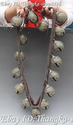 """43"""" Collect Chinese Bronze Ancient Lion Head Horse Neck Bell Horses Bells Statue"""