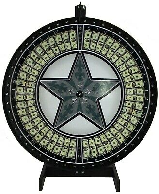 """36"""" Money Wheel with Green Star on a table stand- Includes vinyl laydown"""