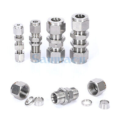 304 Stainless 3-18mm OD Tube Bulkhead Double Ferrule Compression Union fitting