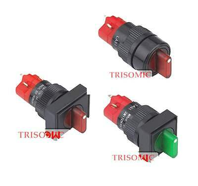 16mm Mount Plastic LED Green Red 2Position Latch Selector Switch 1NO 1NC UL