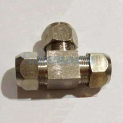 Tee 3 Ways Nikel Plated Brass Fit 4-16mm OD Tube Compression Union Fitting