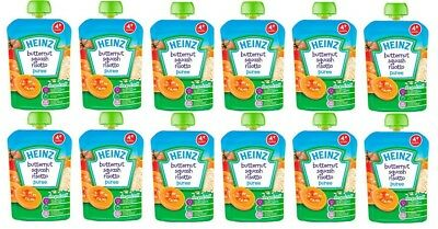 Heinz Butternut Squash Risotto Puree Baby Pouches 4 mths+ 100g x6 or x12