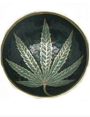 Brass Leaf Container - Tobacco Cigarette Mull Buds Rolling Tray SMALL 9.7cm