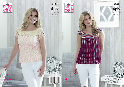 King Cole Crochet Pattern 3938 Ladies Dress Top Cover Up Cotton 4Ply 32-42 S-L