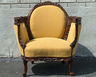 Walnut English Living Room Chair Antique 1920's Newly Upholstered & Restored