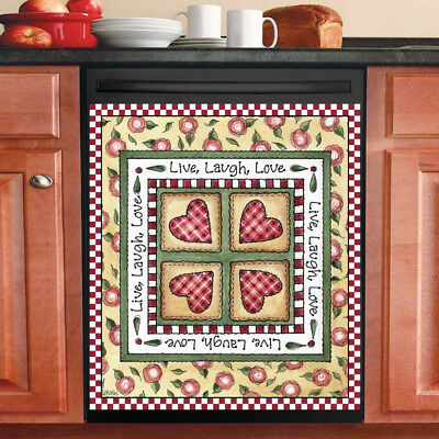 Beautiful Cute Decor Kitchen Dishwasher Magnet -Live Laugh Love Patchwork Design