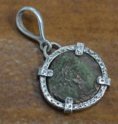 genuine ancient BYZANTINE EMPIRE coin + .925 sterling silver handmade pendant