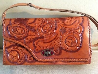 Vintage Hand Tooled  Western Leather Purse, Reversible Light/Dark, Mexico