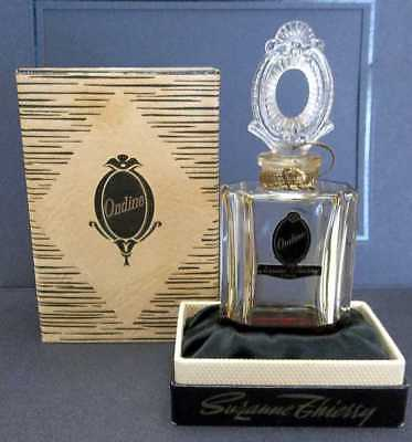Vintage Ondine Crystal Perfume Bottle w/ Stopper & Presentation Box Paris France