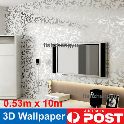 NEW Silver Wall Paper Roll Damask Embossed Feature 3D Textured Wallpapers x10m