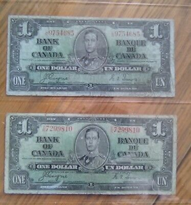 2-1937 Bank Of Canada One 1 Dollar Bank Note Nice Bills