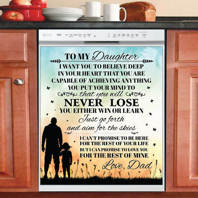 Beautiful Cute Decor Kitchen Dishwasher Magnet - Daughter ~ Dad Family Magnet