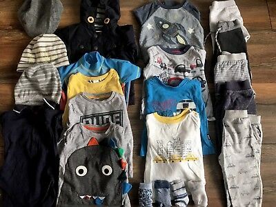 9-12 month baby boys spring clothing bundle 22 items + 5 x sleepsuits