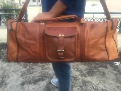 Brown Vegan Leather Duffle Tote Bag Gym Travel Carry On Mens Satchel Luggage bag