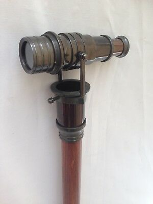 Wooden Walking Stick Cane With Antique Brass Nautical Telecope   -Gift