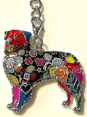 Australian Shepherd Dog Enamel Alloy Purse Dangle Multicolor Key Ring Keychain