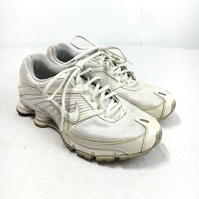 339ed688ddb5 Nike Shox Turbo 8 Womens 8.5 White Leather Lace Up Athletic Running Shoes  344948